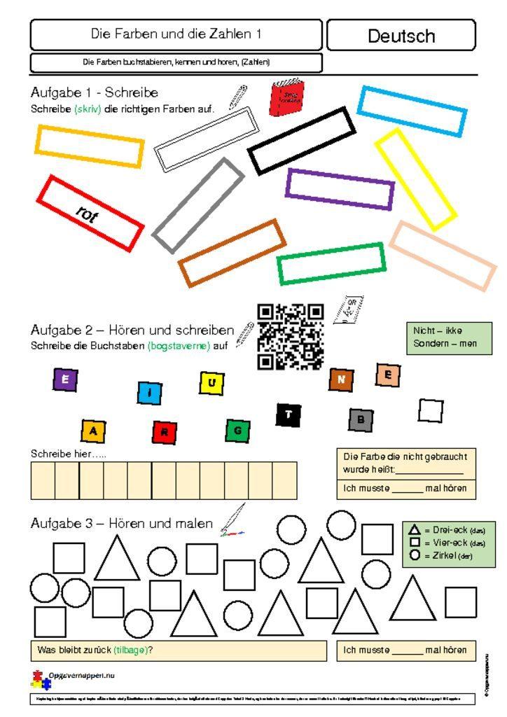 thumbnail of Die Farben 1 – hören und schreiben – Opgavemappen.nu