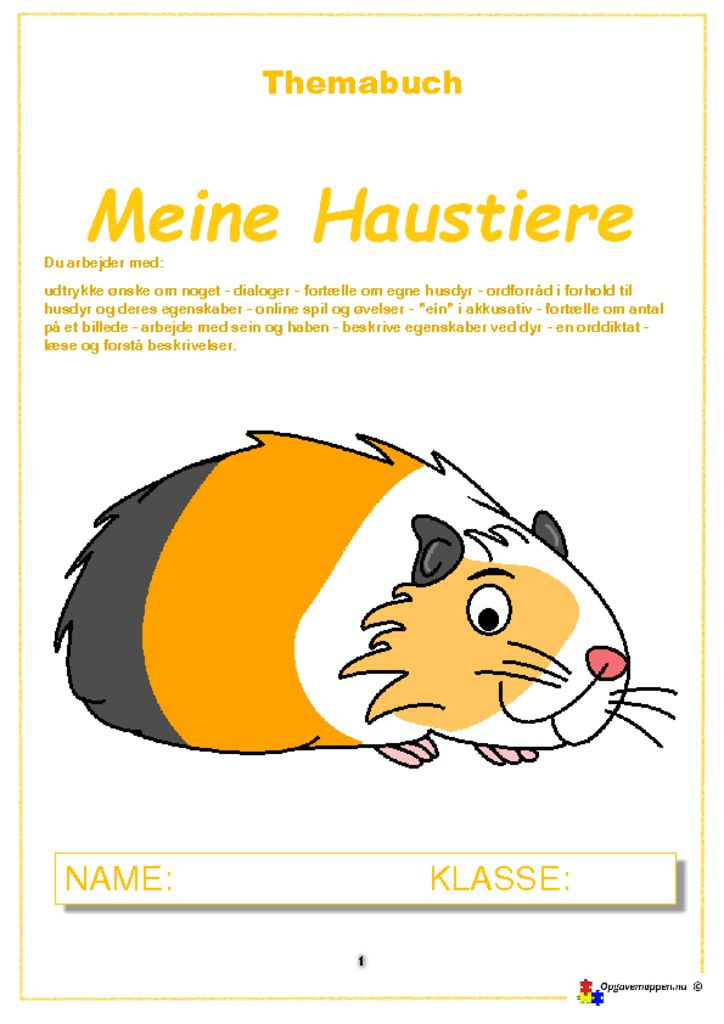 thumbnail of Haustiere 1.2 – opgavemappen.nu