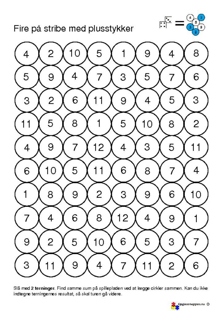 thumbnail of 4 på stribe – plusstykker 1 – 12 – opgavemappen.nu