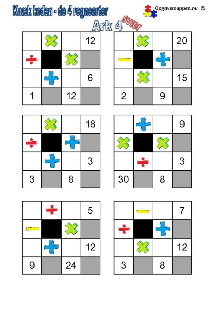 thumbnail of Matematik_knæk_koden_4_regnearter4_svær