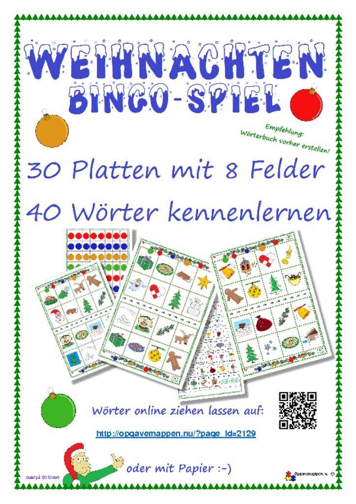 thumbnail of Tysk -jul – weihnachten – bingo spiel – spil – opgavemappen.nu 1.0