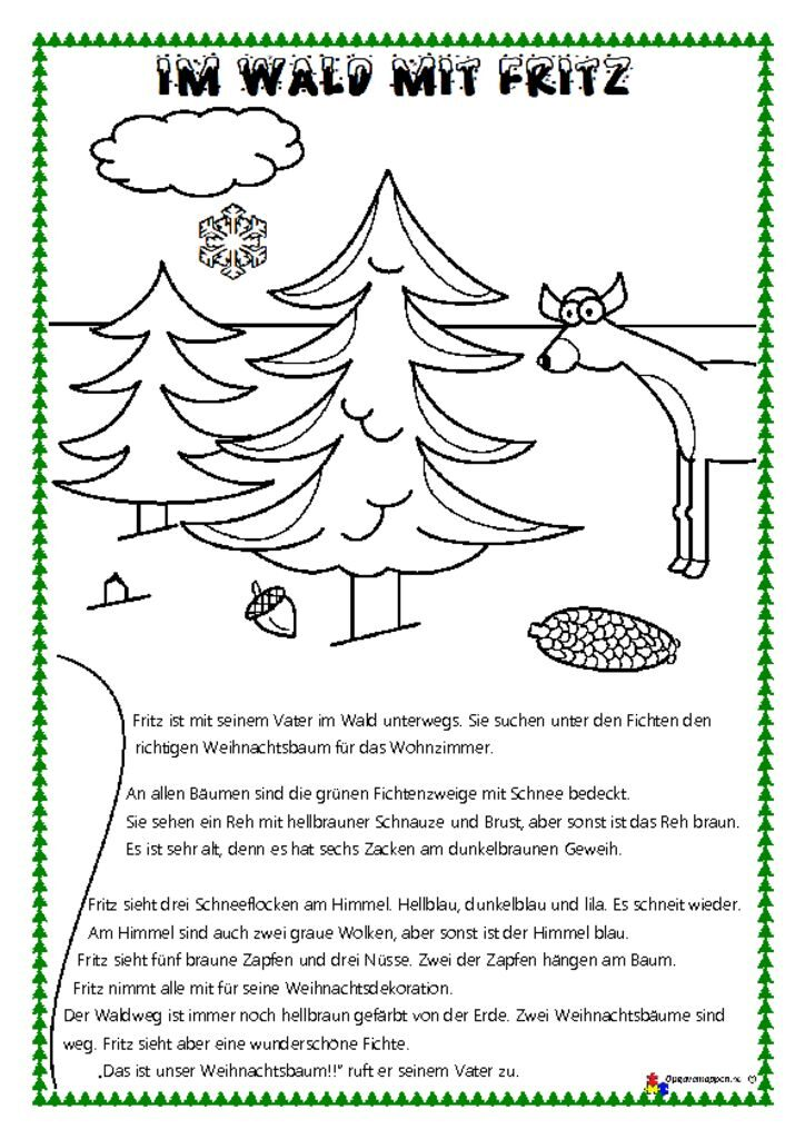 thumbnail of Tysk – læs og mal 1 – jul – Fritz im wald – lesen und malen – opgavemappen.nu