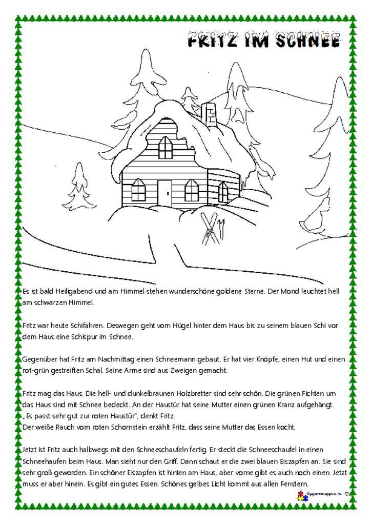 thumbnail of Tysk – læs og mal 3 – jul – – malen und lesen – Fritz im Schnee – opgavemappen.nu 1.1