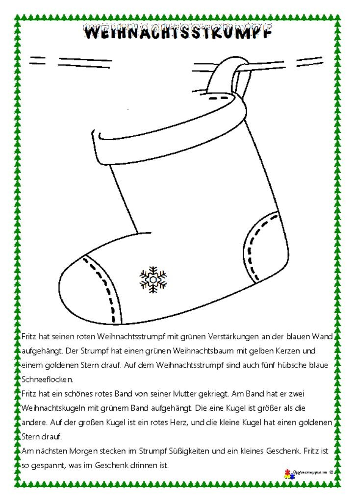thumbnail of Tysk – læs, tegn og mal 2 – malen und zeichnen – jul – socken – opgavemappen.nu