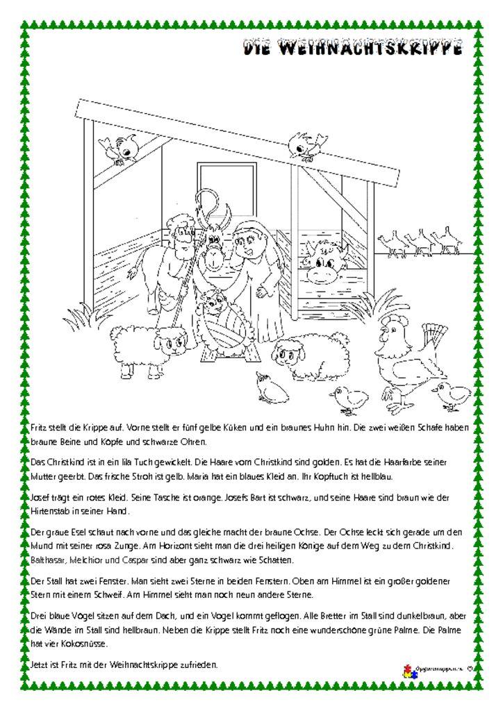 thumbnail of Tysk – læs, tegn og mal 5 – jul – Krippe lesen und malen – opgavemappen.nu