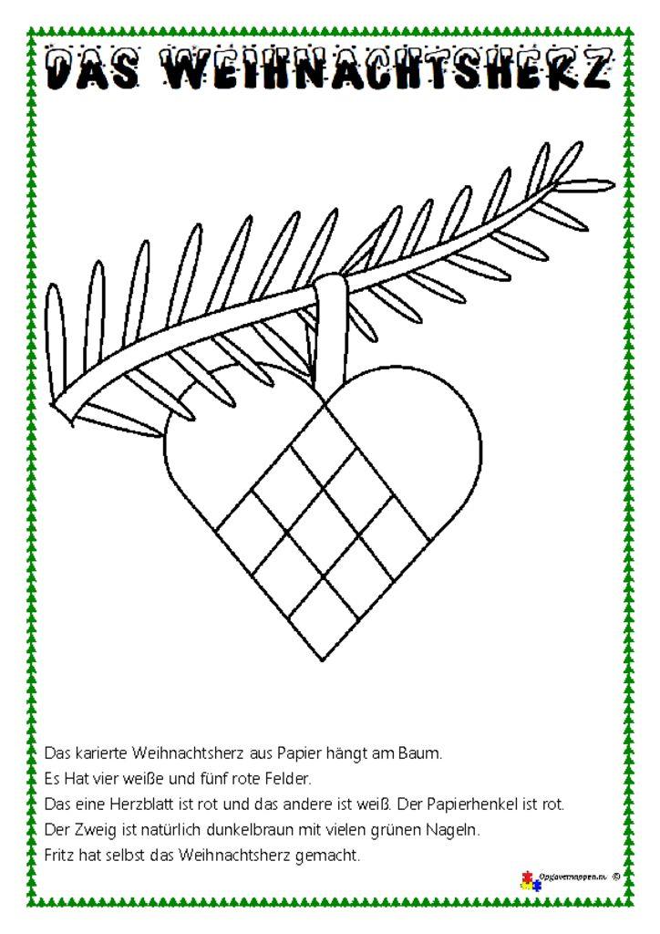 thumbnail of Tysk – Læs, tegn og mal 6 – lesen und malen – Weihnachtsherz – opgavemappen.nu