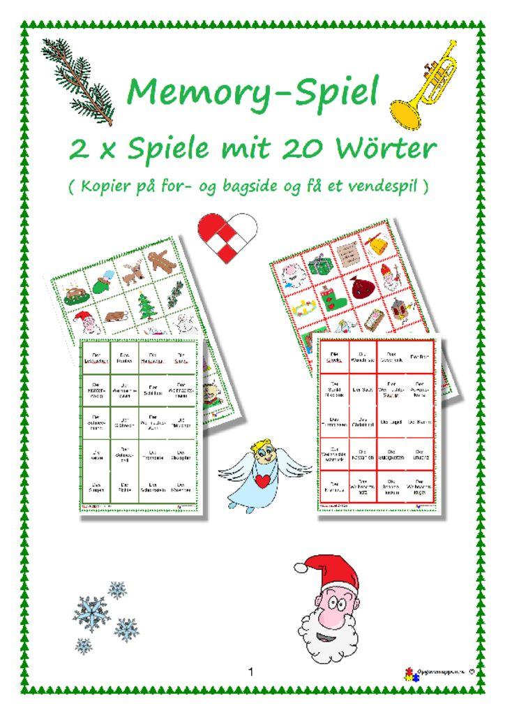 thumbnail of Tysk – jul – 2 x memoryspiel – weihnachten – opgavemappen.nu 1.0
