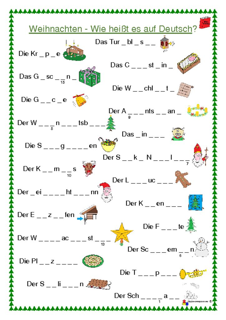 thumbnail of Weihnachten – jul – tysk – opgaver – wörterbuch – opgavemappen.nu 3.0
