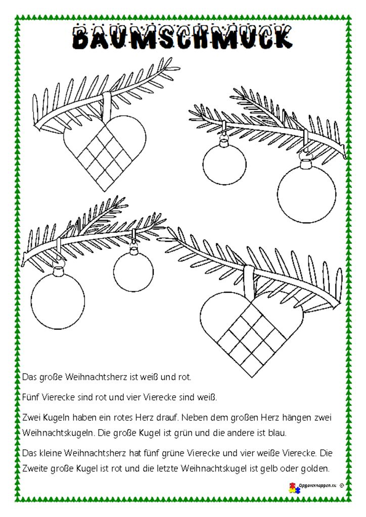 thumbnail of jul – Læs, tegn og mal 7 – Lesen und Malen – Baumschmuck – opgavemappen.nu