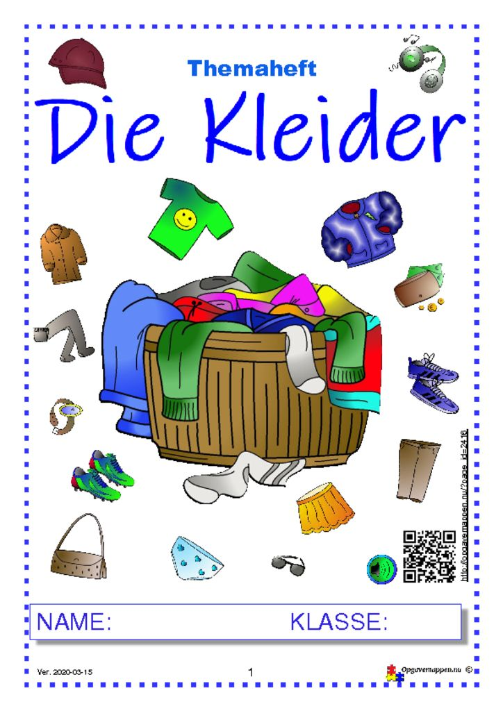 thumbnail of Die Kleider – Themaheft – 24 Seiten – Audio und onlinespiele – opgavemappen.nu – version 1.23