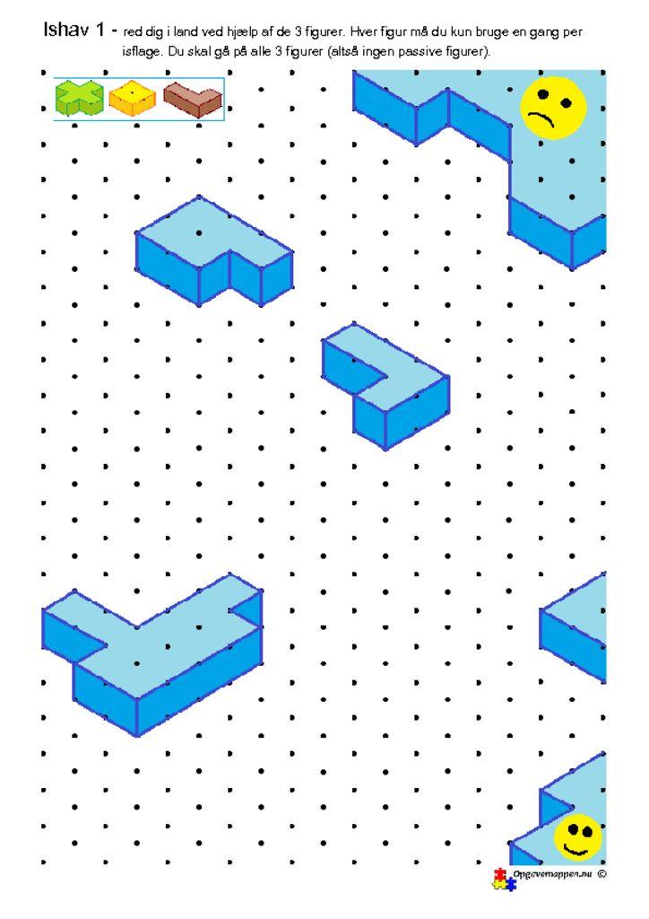 thumbnail of Matematik – Ishav 1 – red dig i land med isometriske figurer – gåde – opgavemappen.nu