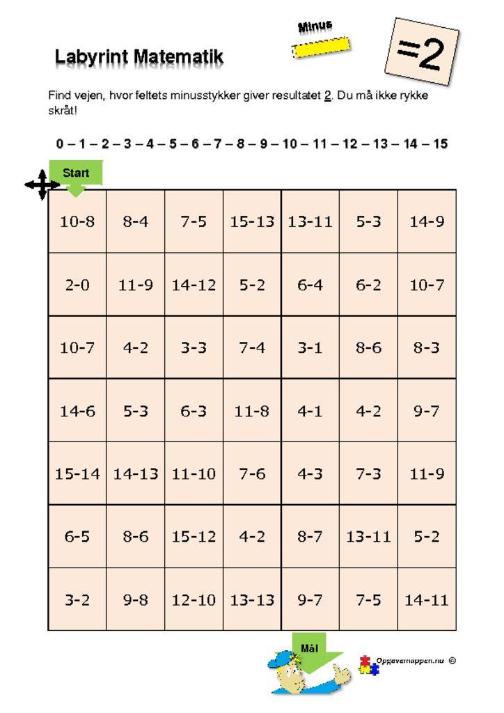 thumbnail of Matematik – Labyrint – med minus – 2 er løsningen – tal fra 0 – 15 – opgavemappen.nu