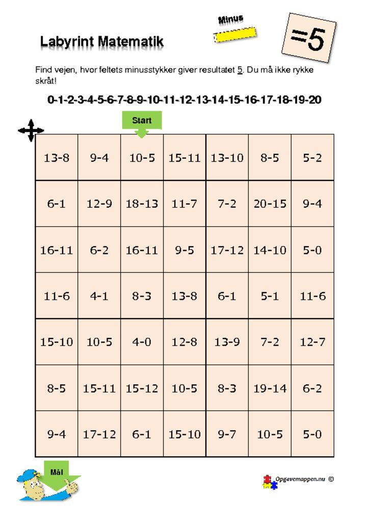 thumbnail of Matematik – Labyrint – med minus – 5 er løsningen – tal fra 0 – 20 – opgavemappen.nu