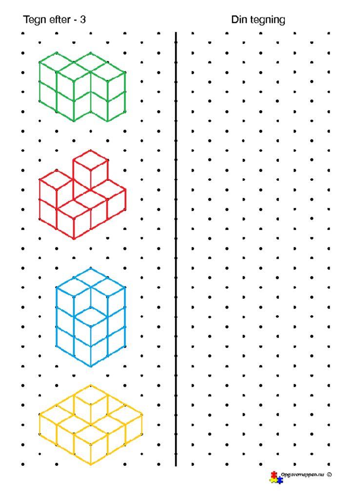 thumbnail of Matematik – tegn efter – 3 – isometriske figurer – opgavemappen.nu