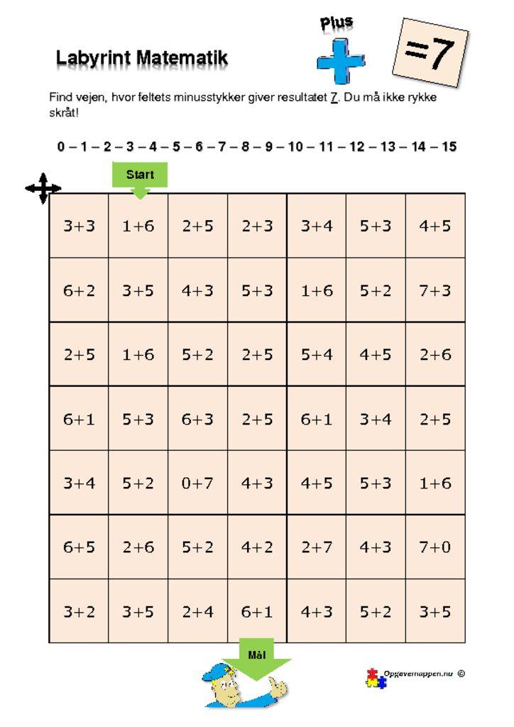 thumbnail of Matematik – Labyrint – med plus – 7 er løsningen – tal fra 0 – 15 – opgavemappen.nu