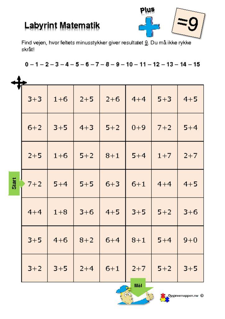 thumbnail of Matematik – Labyrint – med plus – 9 er løsningen – tal fra 0 – 15 – opgavemappen.nu