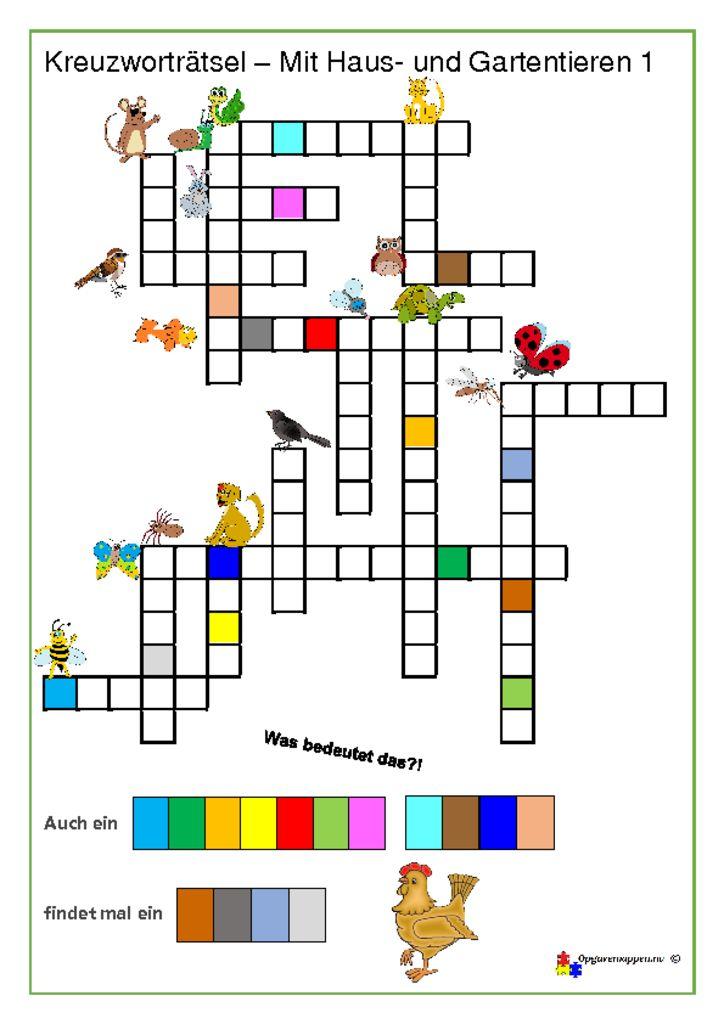 thumbnail of Tysk – Kreuzworträtsel mit Haus- und Gartentieren 1 – opgavemappen.nu