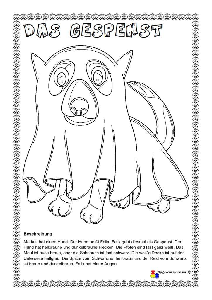 thumbnail of Tysk – Halloween – das Gespenst – Hund – zeichnen nach einer beschreibung – læse – tegne – male – opgavemappen.nu