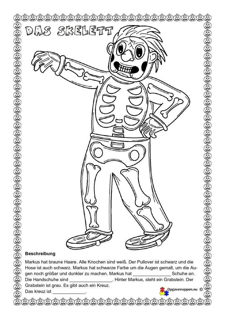 thumbnail of Tysk – Halloween – das Skelett – zeichnen nach einer beschreibung – læse – tegne – male – opgavemappen.nu