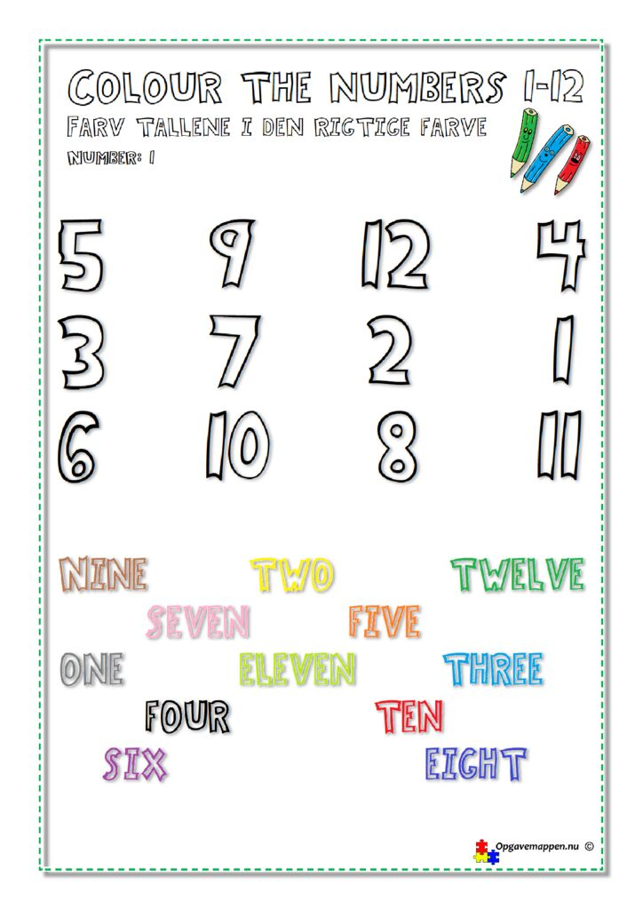 thumbnail of Colour the Numbers 1-12 – page 1 – ver 1.0 – Engelsk – opgavemappen.nu