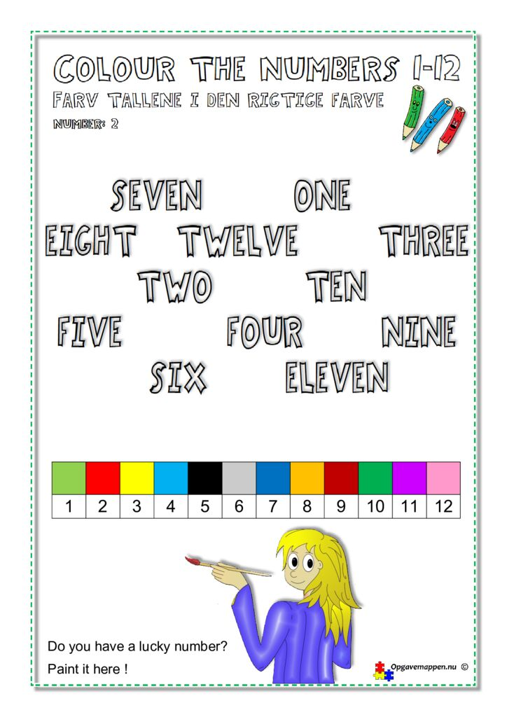 thumbnail of Colour the Numbers 1-12 – page 2 – ver 1.0 – Engelsk – opgavemappen.nu