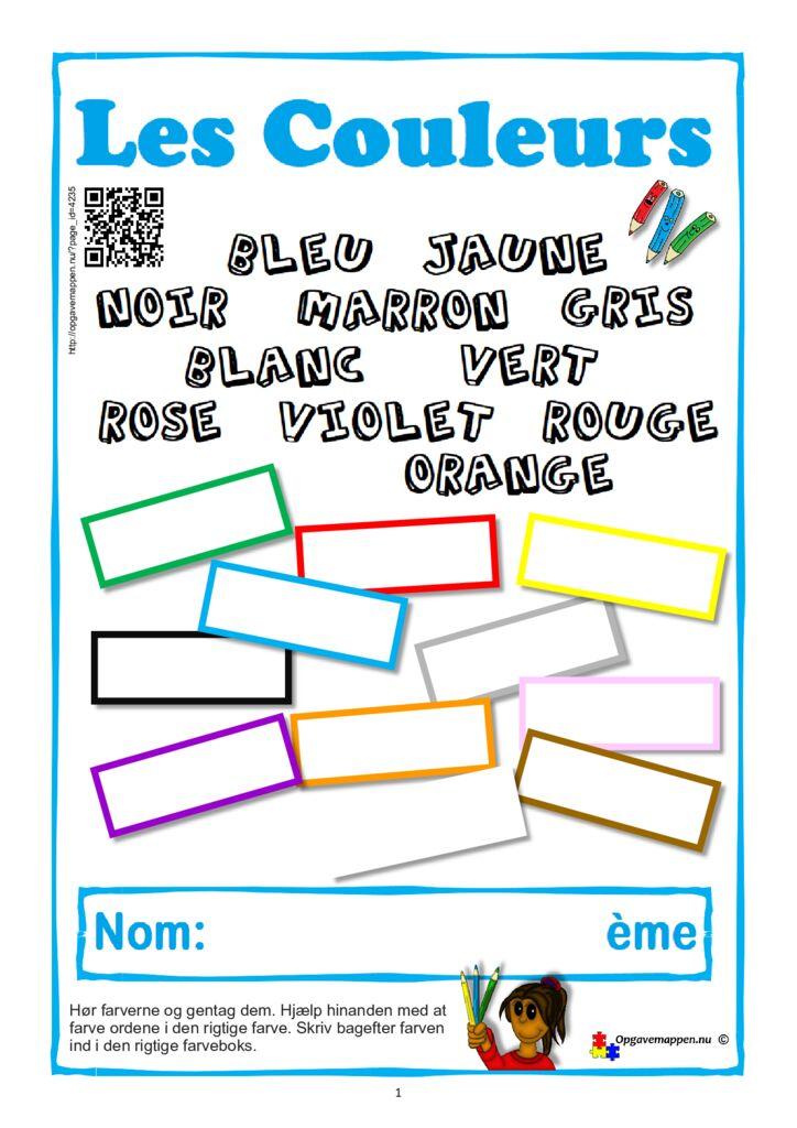 thumbnail of Fransk – Farverne – temahæfte – 12 sider med QR – opgavemappen.nu – version 1.2 – 04-09-2021